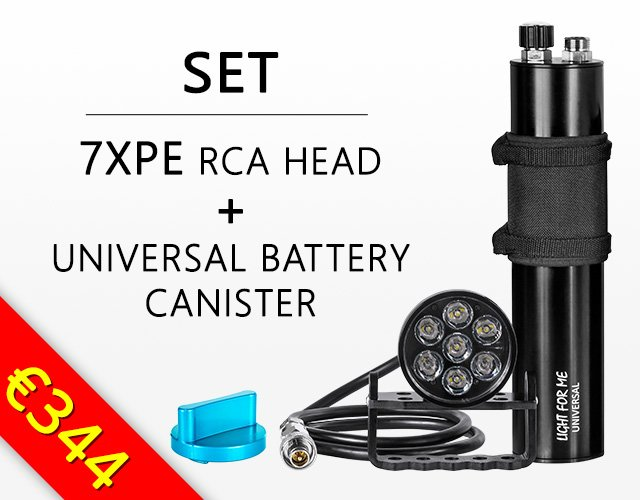 Light For Me dive set made of 7XPE head and Universal Battery Canister
